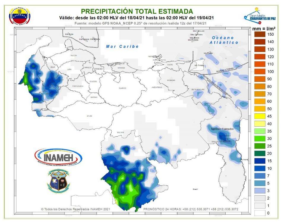 Inameh prevé lluvias para algunos estados del país