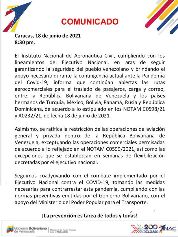 """INAC extendió por 30 días más, la prohibición de vuelos internacionales, pero """"con sus excepciones"""" - junio 21, 2021 8:00 am - NOTIGUARO - Economia"""