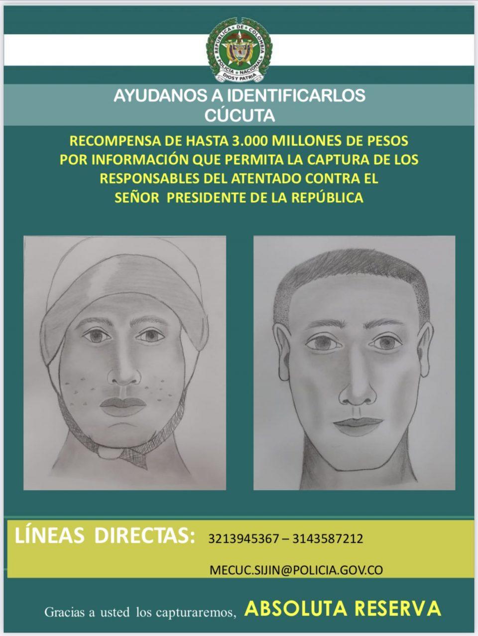 Policía colombiana reveló retratos hablados de los responsables del ataque a Duque