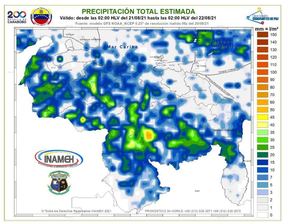 Inameh prevé precipitaciones en gran parte del país