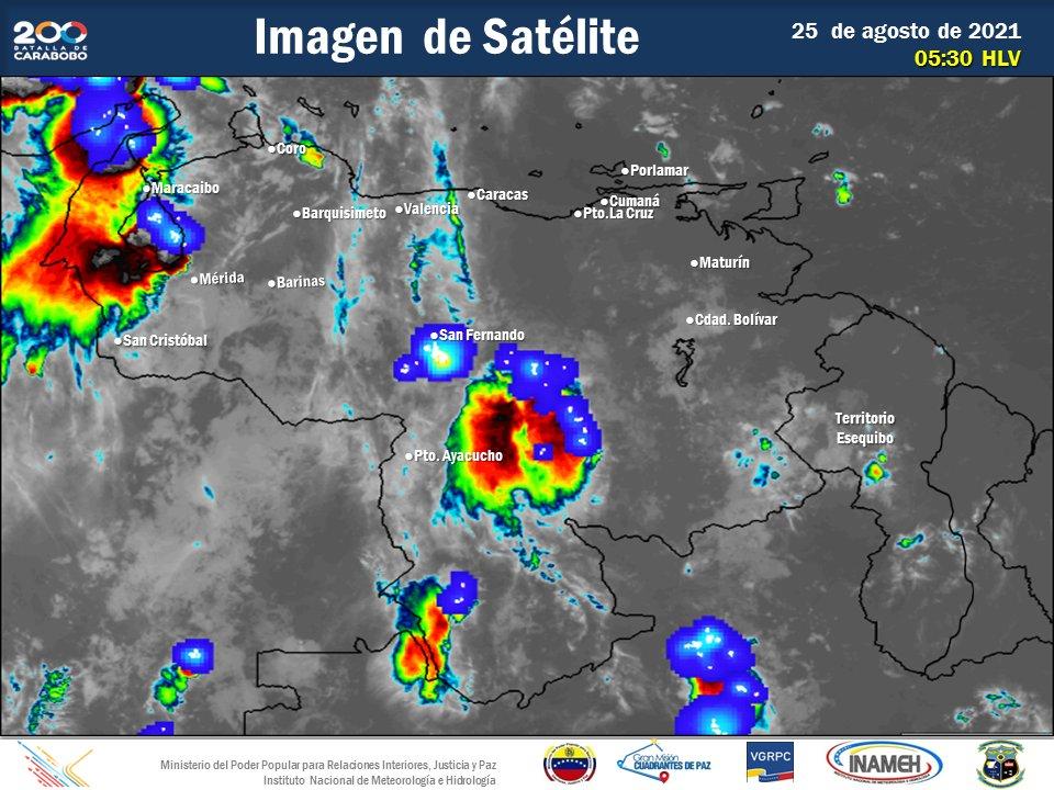 Inameh prevé lluvias en algunas zona del país este #25Ago