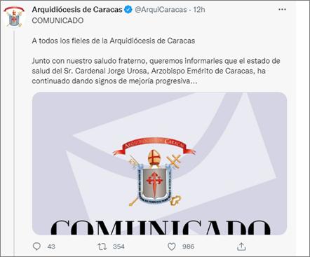 Cardenal Jorge Urosa Savino continúa dando signos de mejoría