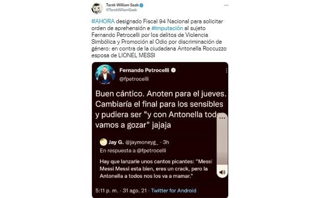 Saab pide la captura del periodista Fernando Petrocelli, por tuit sobre la esposa de Messi